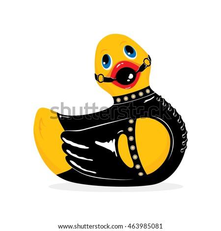 BDSM duck. Vector illustration.