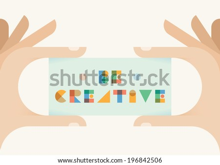 Be creative vintage style badge in human hands Idea Creativity Art Graphic design motivation