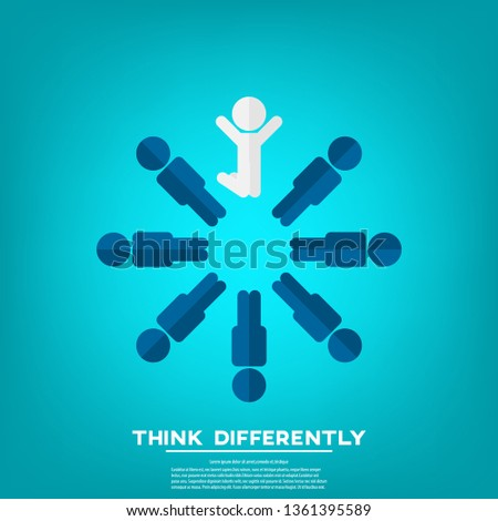 Be different - Being different, standing out from the crowd -The graphic of a jumping man also represents the concept of individuality , confidence, uniqueness, innovation, creativity.