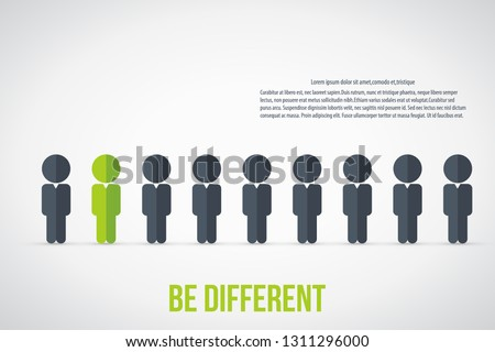 Be different - Being different, standing out from the crowd -The graphic of a red man also represents the concept of individuality , confidence, uniqueness, innovation, creativity.