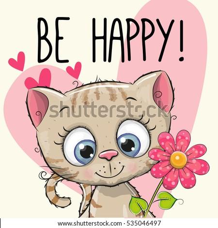 be happy greeting card kitten
