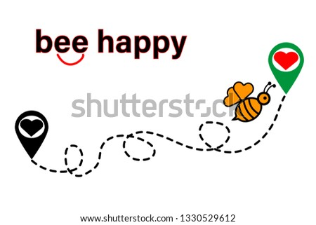 be happy, illustration for greeting card,wallpaper,poster, t-shirt print and other uses.vector illustration with a flying bee and heart location for t-shirt print