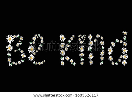 be kind daisy lettering vecto rloves me loves me not daisy flower daisy amour design lettering vector purple background  with heart  spring stationary fashion style,packet