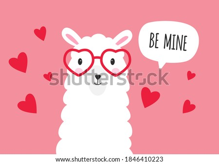 Be mine Valentine. Cute lama with sunglasses and speech bubble. Vector
