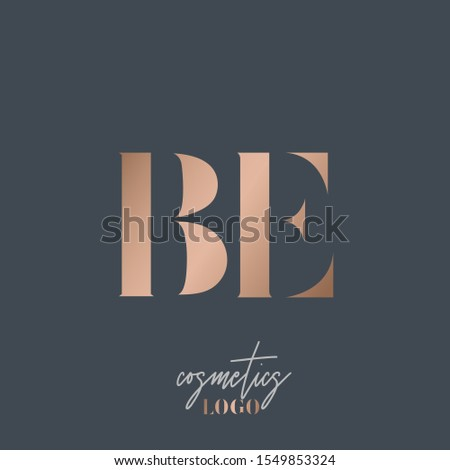 BE monogram logo.Typographic icon with rose gold letter b and letter e.Uppercase lettering sign.Metallic serif alphabet initials isolated on dark background.Luxury,beauty,boutique,modern style.