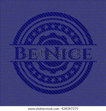 Be Nice emblem with jean background