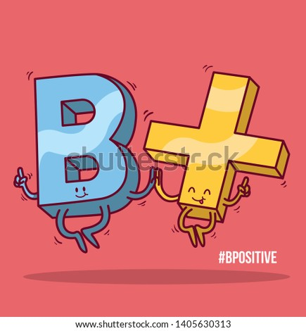 Be Positive vector illustration.  Positive negative, motivation imagination design concept