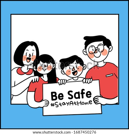Be Safe and Stay at Home Corona COVID-19 Campaign Editable Vector Illustration