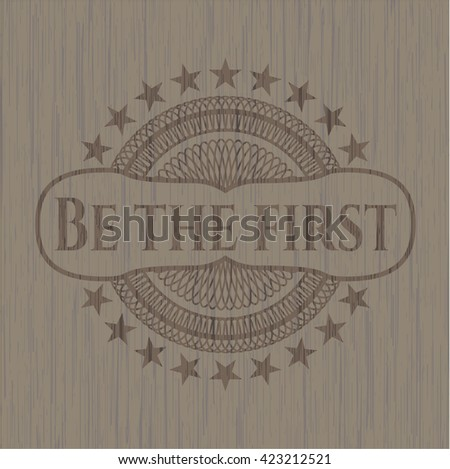 Be the first retro style wooden emblem