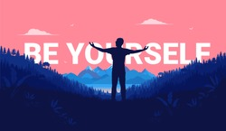 Be yourself - Silhouette of man standing in landscape with great view, feeling free and accepting his identity. Aspirational and inspirational vector illustration.