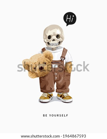 be yourself slogan with skeleton in bear mascot costume vector illustration
