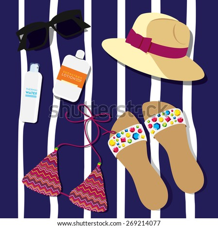 beach accessories lying over a