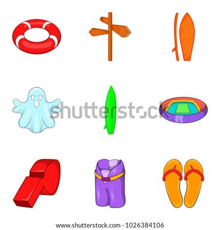 beach activity icons set