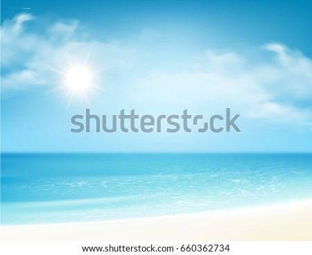 Beach and tropical sea with bright sun. Vector illustration EPS10