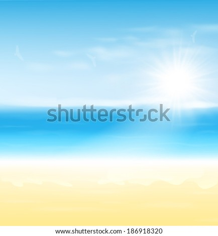 Beach and tropical sea with sun