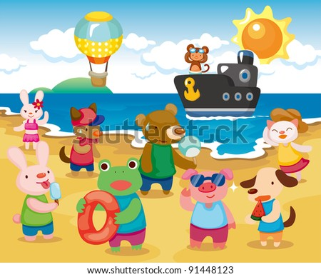 Beach Animal Party - stock vector