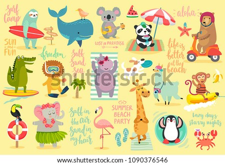 Beach Animals hand drawn style, Summer set - motivation calligraphy and other elements. Panda, elephant, hippo, bear, penguin, sloth, koala, lion, whale and others. Vector illustration.