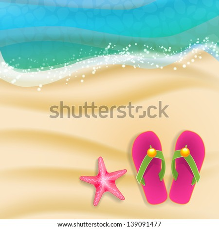 beach background with sandals and starfish - stock vector