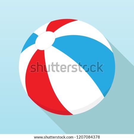 Beach ball, beach ball icon. Vector illustration of a beach ball with shadow.