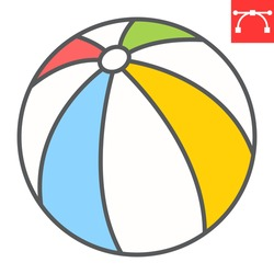 Beach ball color line icon, toy and tourism, beachball vector icon, vector graphics, editable stroke filled outline sign, eps 10