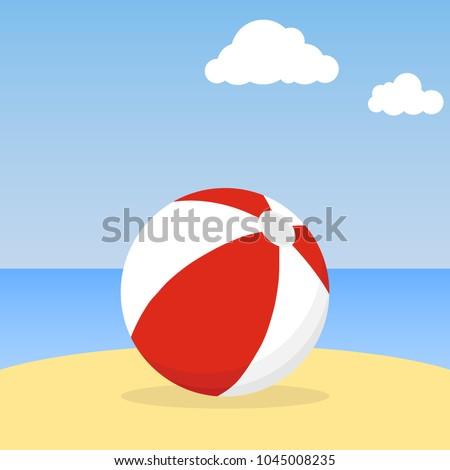 beach ball lying in the sand