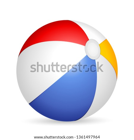 Beach ball on a white background. Vector illustration. #1361497964