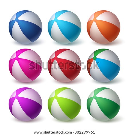beach balls vector set in