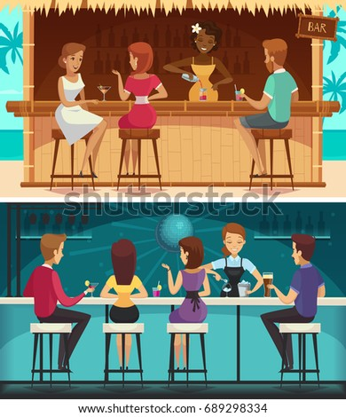 Beach bar and evening bar cartoon horizontal banners with female staff and  resting people at bar counter  flat vector illustration
