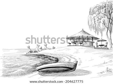 beach bar sketch  boat on shore