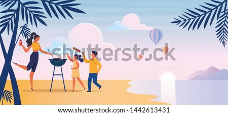 Beach Barbeque, Picnic Flat Vector Illustration. Little Children, Single Mother Cartoon Characters. Family Summer Trip, Barbecue on Sea Shore. Young Woman with Kids Cooking Delicious Meal