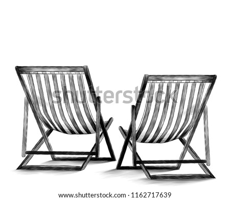 beach beds sketch vector graphics monochrome illustration on white background #1162717639