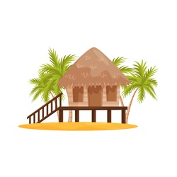 Beach bungalow with wooden porch and stairs, green palm trees on background. Balinese house. Flat vector design