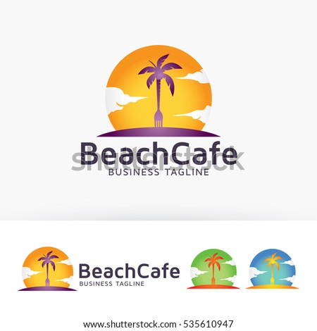 beach cafe  vector logo template