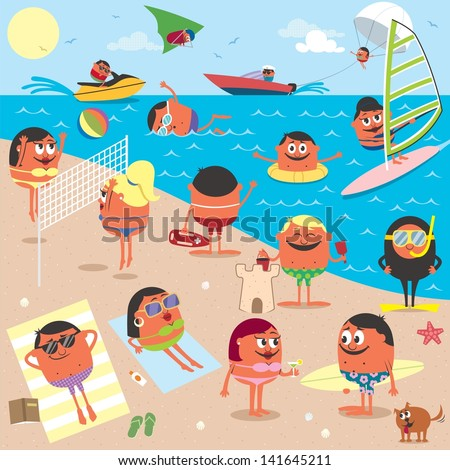 beach  cartoon illustration of