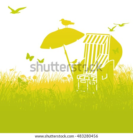 beach chair in the grass and