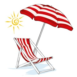 Beach chaise longue, umbrella and sun. Summer and relaxation by the sea. Vector illustration.