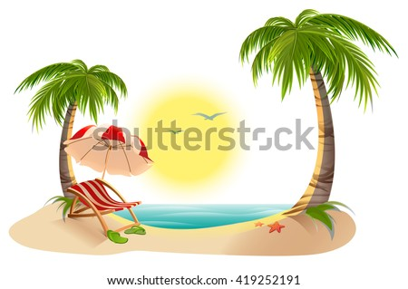 Beach chaise longue under palm tree summer vacation in for Beach chaise longue