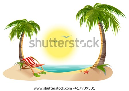 beach chaise longue under palm