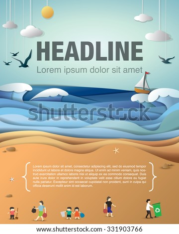 beach clean up - stock vector
