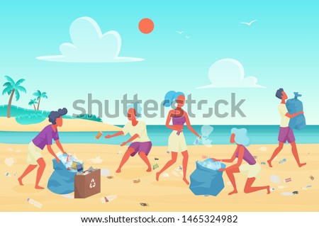 Beach cleaning flat vector illustration. Young people cleaning plastic garbage on waterfront. Volunteering and environment protection. Volunteers clean up trash on ocean coast stylized characters