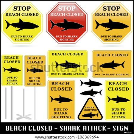 Beach Closed. Shark Attack Sign Set. Vector