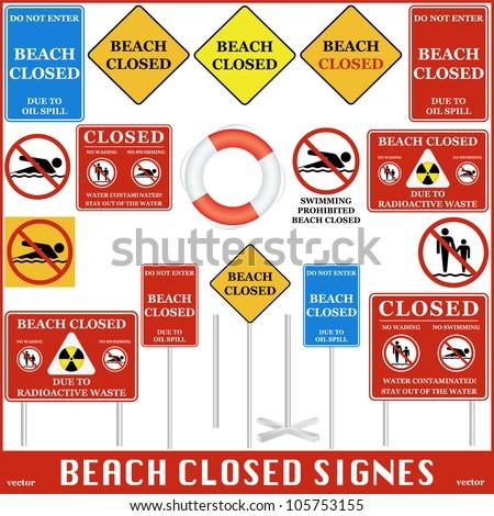 Beach Closed Signs Set. Vector