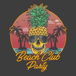 beach club party skull pineapple illustration vector