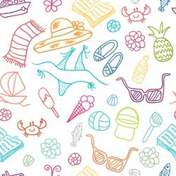 Beach cute doodle seamless pattern. Vacation hand drawn background.
