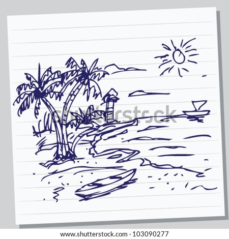 beach doodle illustration