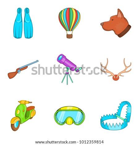 beach hobby icons set cartoon
