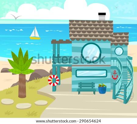 beach house   cartoon beach