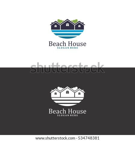 beach house logo in vector