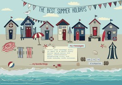 Beach Huts - Summer poster and advertisement for seaside vacation, with bunting, lounge chairs, umbrellas, accessories, sandy beach and paper notes with plenty of copy space, hand drawn