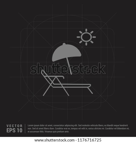 beach icon - Black Creative Background - Free vector icon